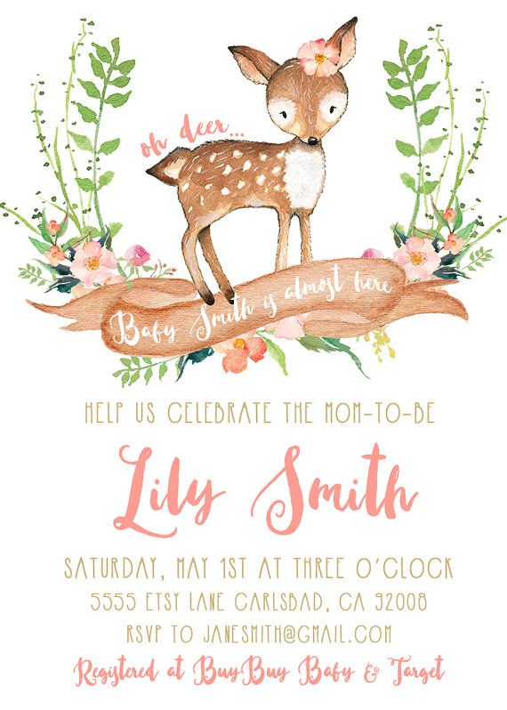 oh deer baby shower invitation girl, boho, woodland, antler,