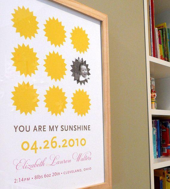 You are my Sunshine modern nursery wall art print poster baby photo ...