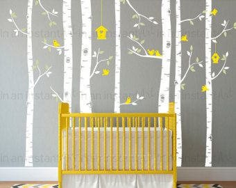 Birch Tree Birds Wall Sticker Set Trees And Bird Wall Decal For - Yellow bird wall decals