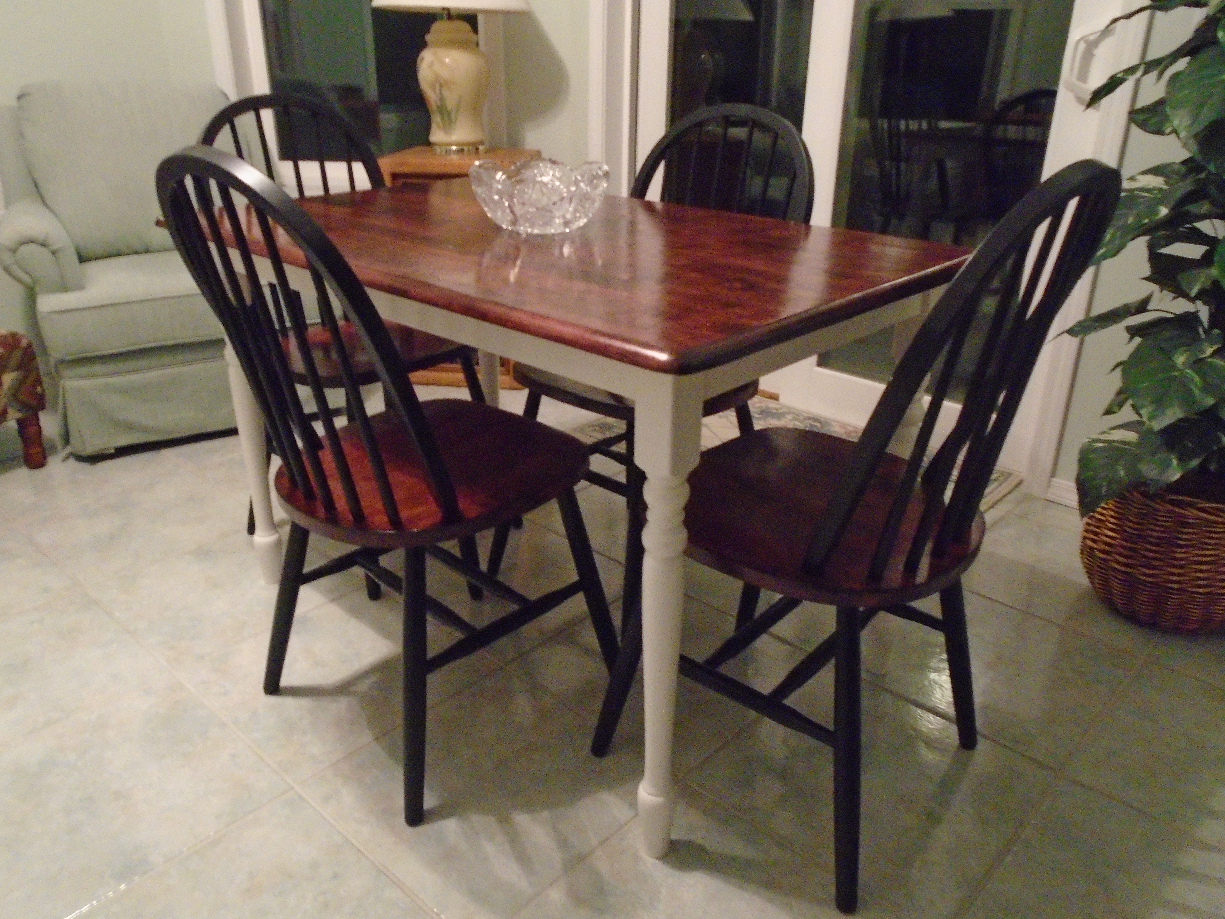 Rustic Farmhouse Table Brown Stained Top White Painted Legs - Black farmhouse table and chairs