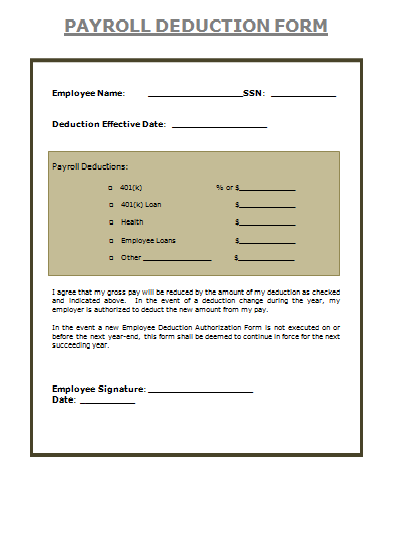 Payroll Deduction Form is the sum of the wages of all the employees ...