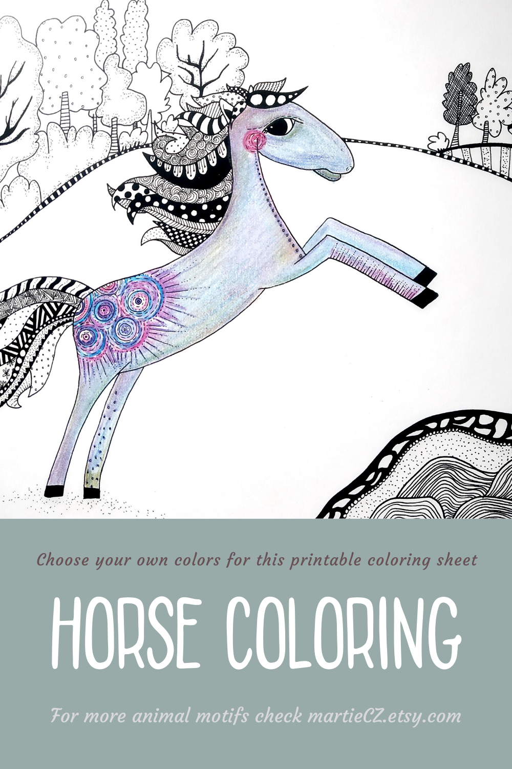 Printable Whimsical Horse Coloring Page For Kids Or Adults Etsy In 2020 Horse Coloring Pages Horse Coloring Coloring Pages For Kids [ 1500 x 1000 Pixel ]