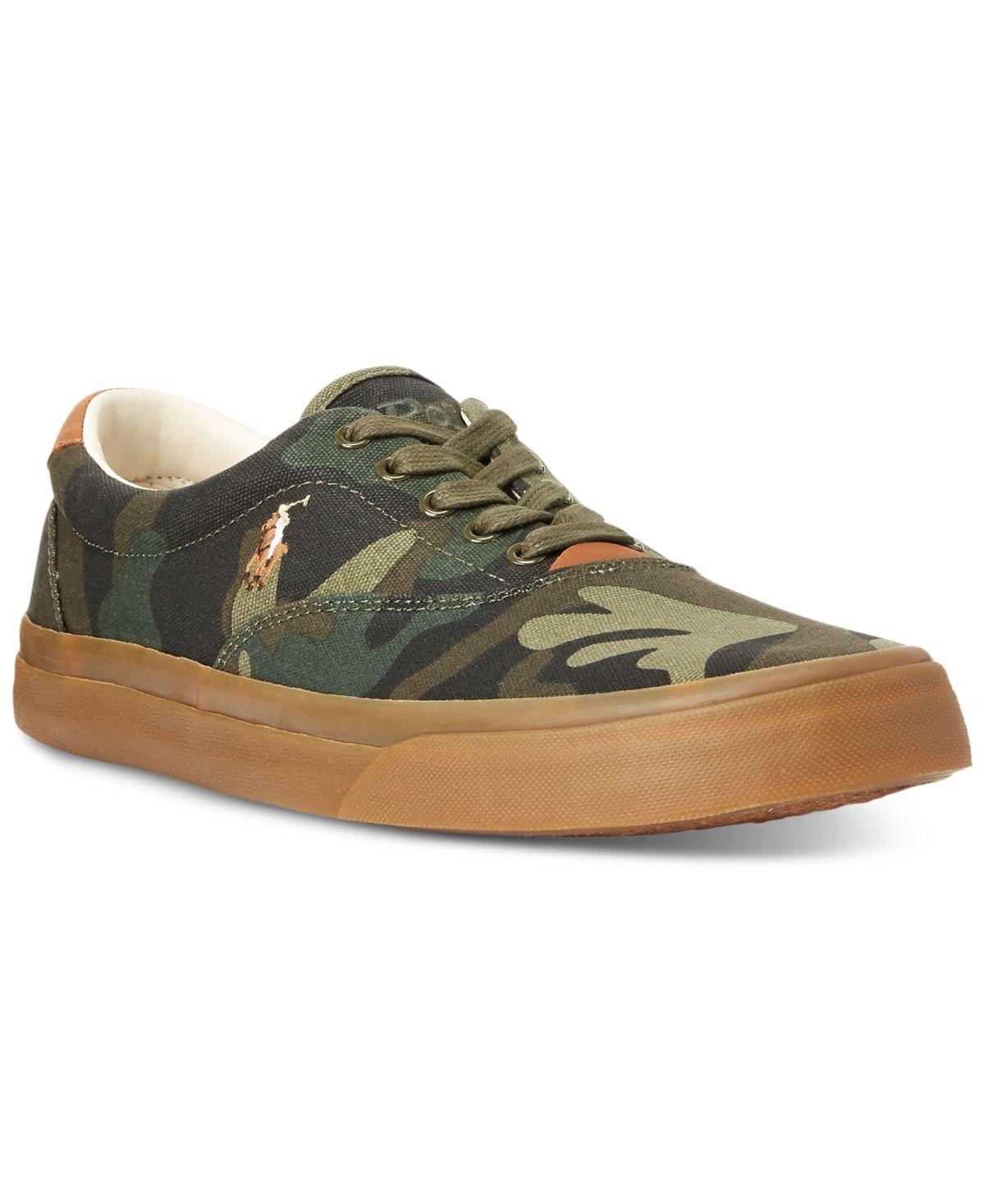 Polo Ralph Lauren Men's Thorton Camo Canvas Shoes Dark