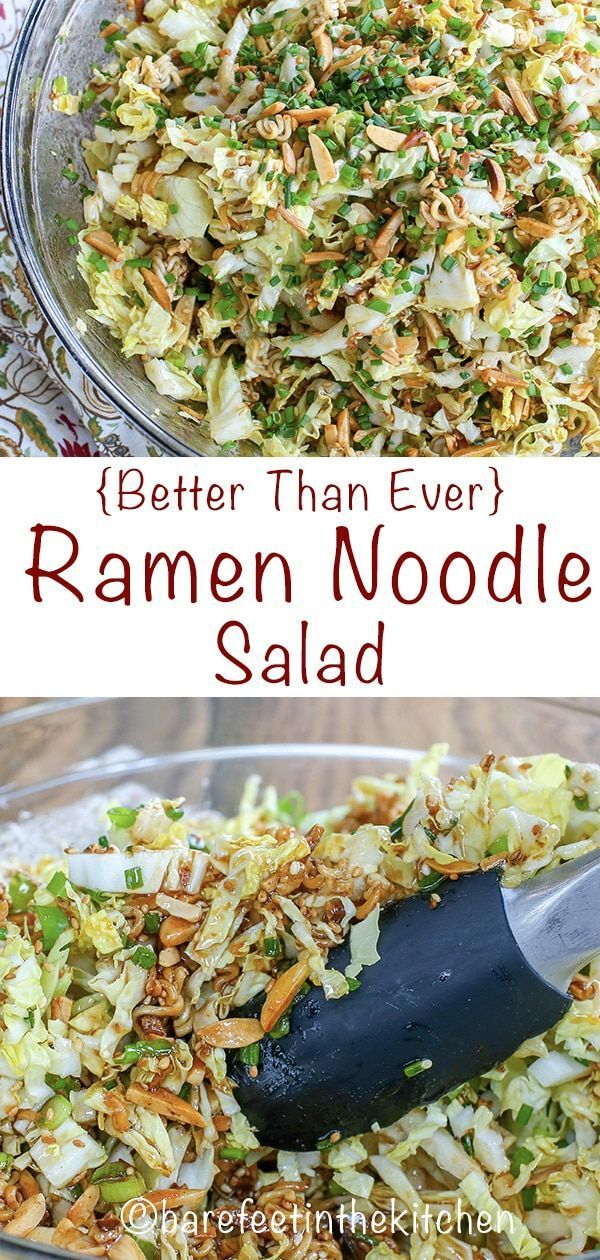 Photo of The BEST Ramen Noodle Salad you've ever tasted! get the recipe at barefeetinthekitchen.com