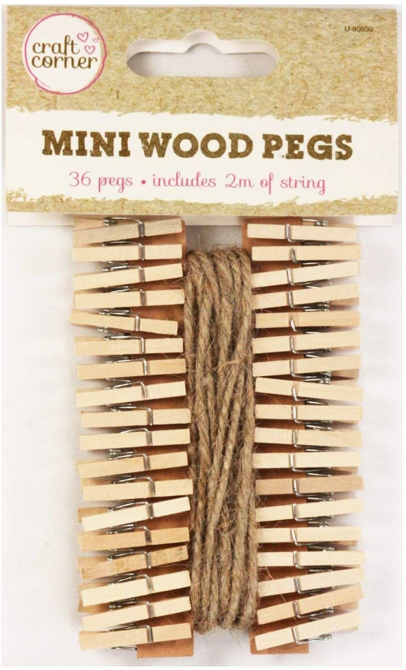 36 Mini Wooden Pegs With 2m Of Jute String Christmas Cards Photos