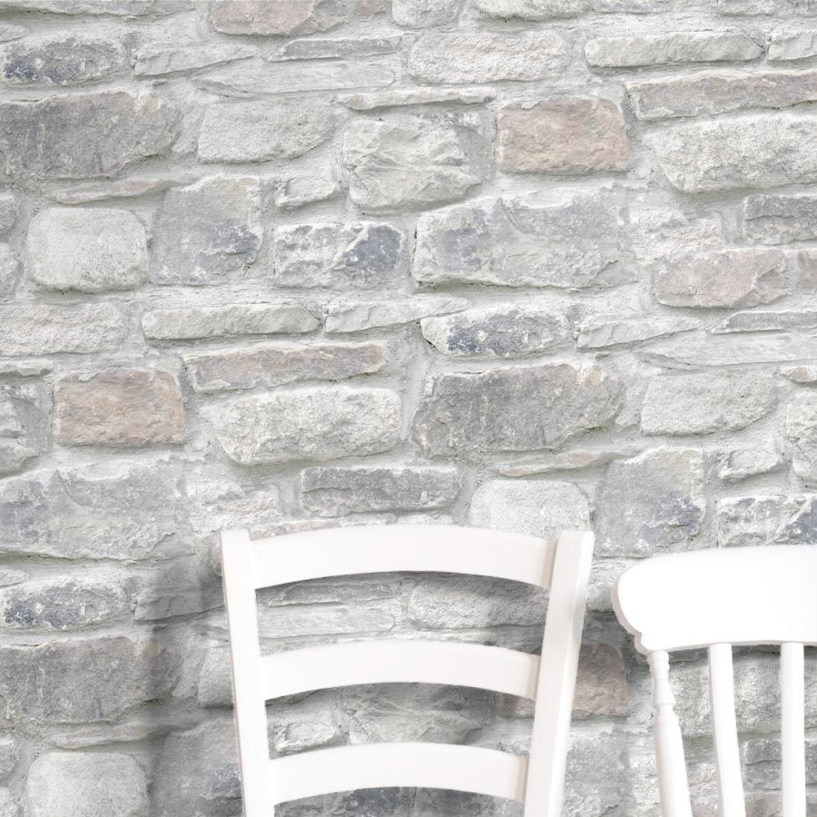 Coniston Brick Stone Effect Wallpaper Grey Mixed Home