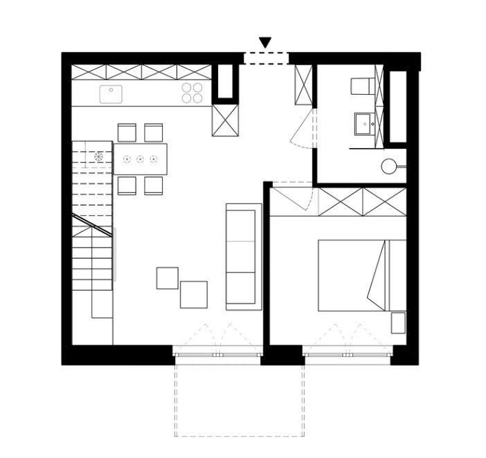 Planos de peque o departamento d plex depa pinterest for Distribucion apartamentos pequenos