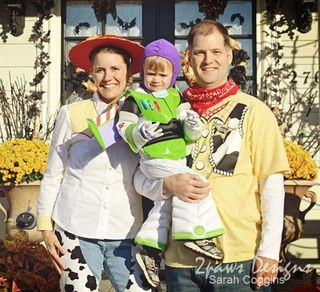 halloween 2011 disney pixar toy story family costumes our family of 3 dressed up as jessie the cowgirl buzz lightyear and woody the cowboy in these part