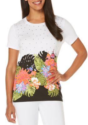 Rafaella Women's Short Sleeve Embellished Print Tee -  - No Size