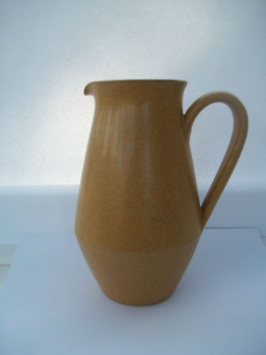 "Denby Ode Jug Pitcher 1 Pint 16cm 6"" high 1960's 70's Sand Beige Mustard White £7.50"