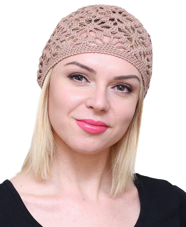 Cotton Hats For Women Ladies Summer Beanie Lace Cloche Hair accessories Cap  - Dark Beige - CH17YZYH0QR - Hats   Caps 6f6d8d06e2f