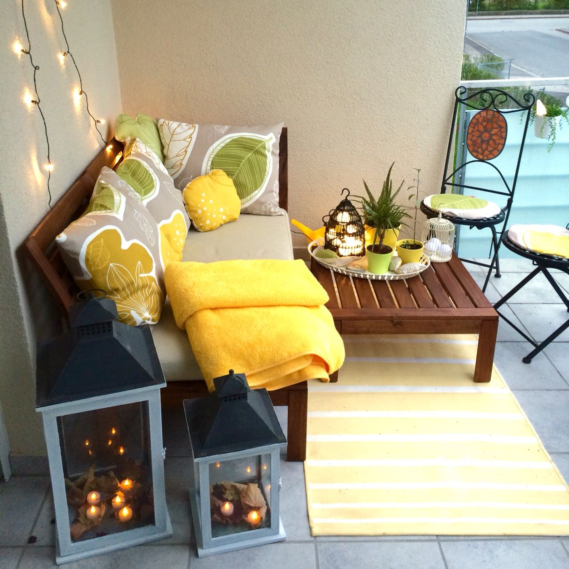 Small Balcony Ideas My New Balcony Ikea Applaro Furniture Gurine Fabric On Cushio Small Balcony Furniture Small Balcony Design Apartment Balcony Decorating