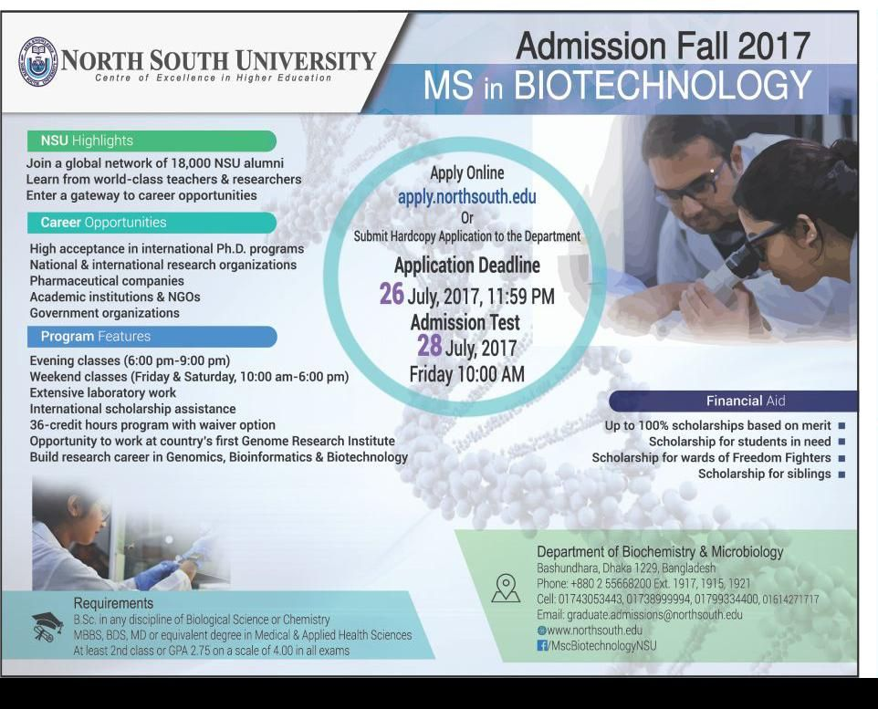 Admission Fall 2017 MS in Biotechnology At North South