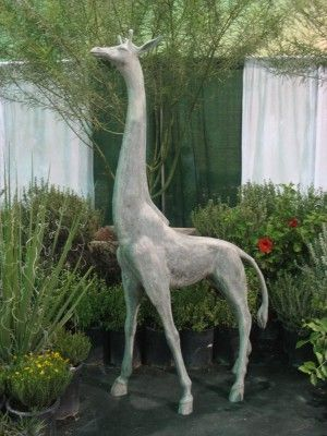 8 Ft Tall Outdoor Fiberglass Standing Giraffe Statue Garden