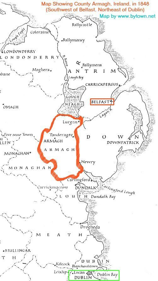 County Armagh Ireland Map.Map Showing County Armagh In 1848 Murrays Were In County Down In