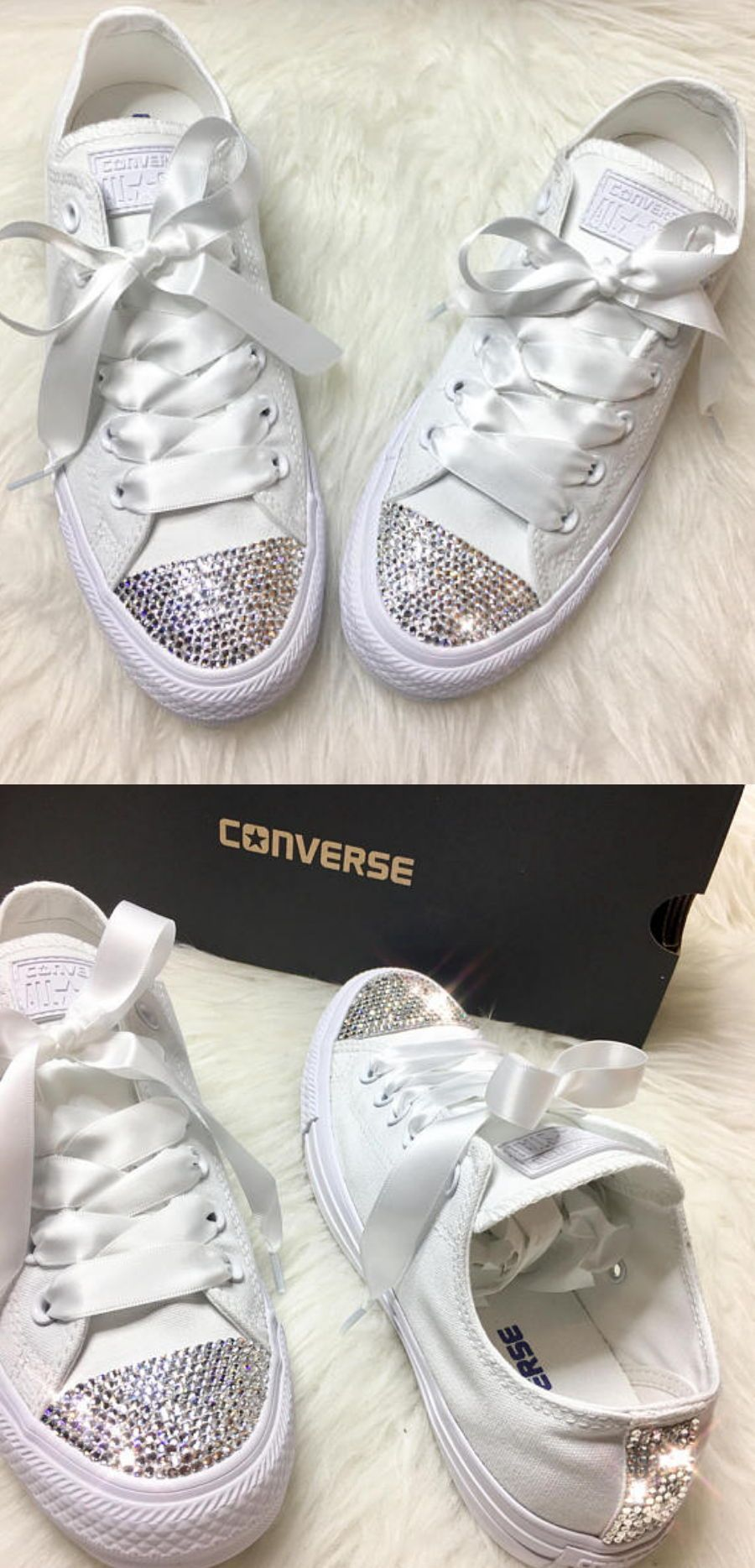740cc0669e68 Swarovski Crystal CONVERSE Bling Women s Wedding crystal sneakers  wedding   sneakers  bridal  ad