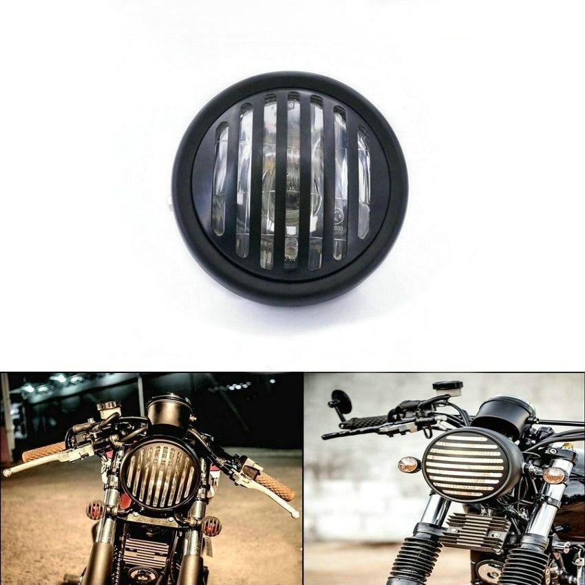 Cafe Racer Front Light Chrome Black Motorcycle Headlight Head