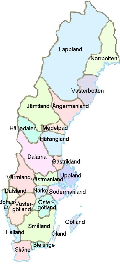 Karta Over Sveriges 25 Landskap.Karta Over Sverige Landskap