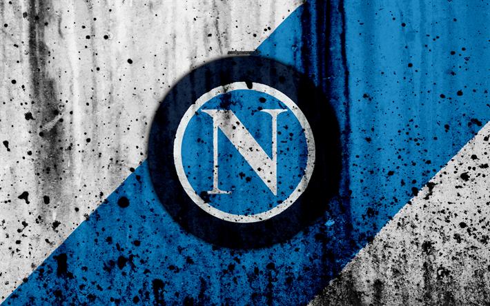 футбол 1 Wallpaper: Download Wallpapers FC Napoli, 4k, Logo, Serie A, Stone