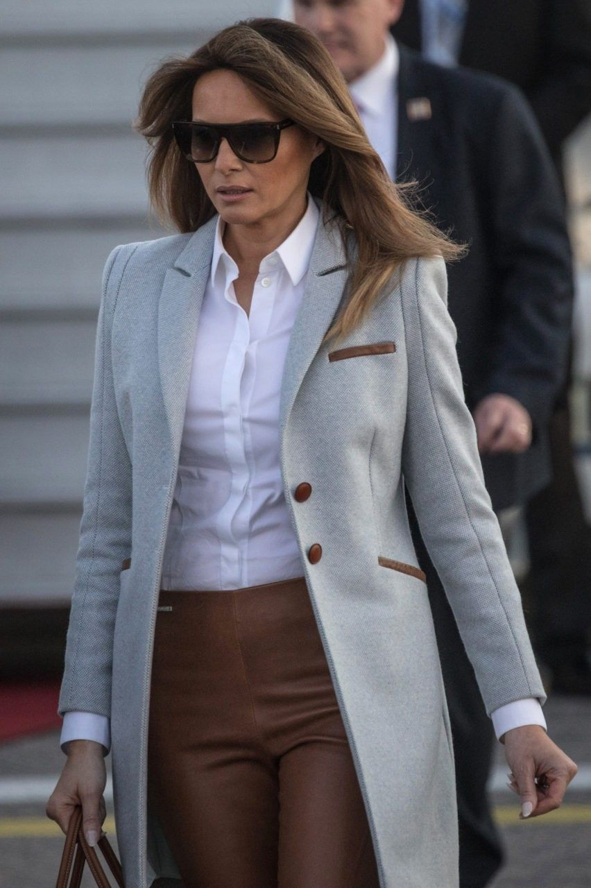59c84561398b Fashion Notes: First Lady Melania Trump stuns in Finland wearing Ice Blue  Driving Coat by