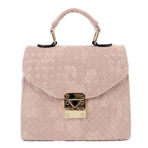 Metal Weave Pattern PU Leather Shoulder Bag ($20) ❤ liked on Polyvore featuring bags, handbags, shoulder bags, pu leather handbag, pink shoulder handbags, pink purse, shoulder handbags and metal purse