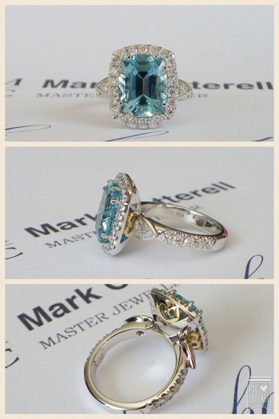 Mark Cotterell master jeweler. So so beautiful!! 4.4ct Madagascan aquamarine and collection colour diamonds