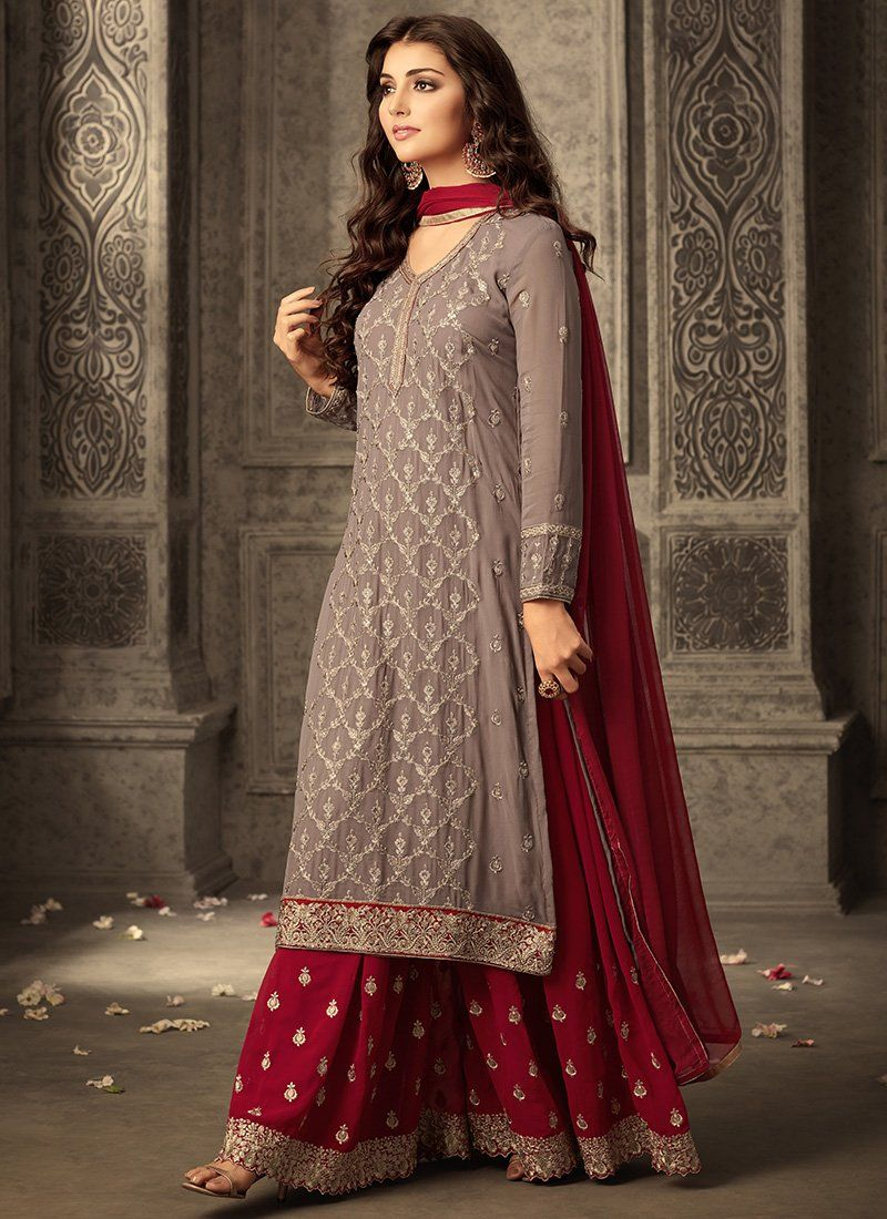 bc5547cd2 Red and Grey Embroidered Sharara Suit features a georgette kameez with  santoon inner