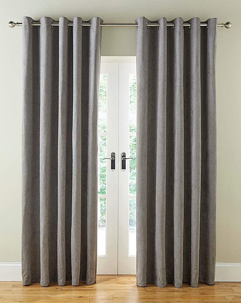 Faux Suede Long Length Eyelet Curtains Grey Eyelet Curtains Curtains Curtains With Blinds
