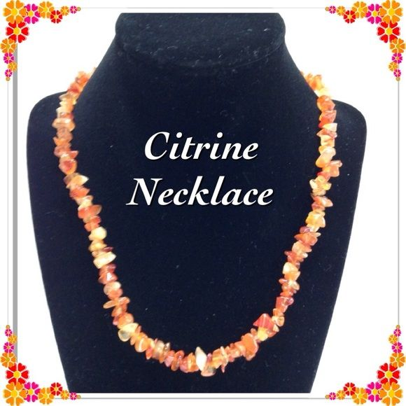 """Citrine Chip Necklace Necklace is 18"""" long with a barrel clasp closure.  It's a joyful stone with bright energy. Jewelry Necklaces"""