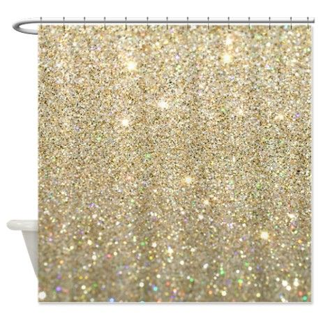 Gold Faded Sparkle Shower Curtain On CafePress