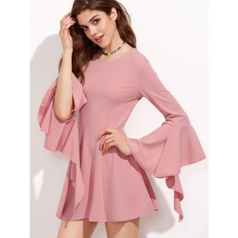 A-Linie Kleid 2017 mit Reißverschluss Hinten Bellärmel Rosa