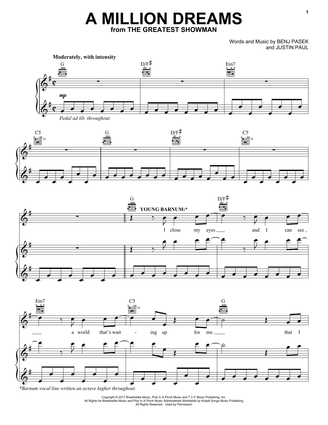 Pasek & Paul A Million Dreams Piano, Vocal & Guitar ...
