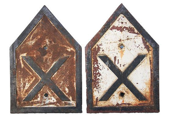 antique railroad crossing signs cast iron by