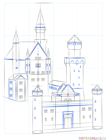 How To Draw The Neuschwanstein Castle Step By Step Drawing Tutorials For Kids And Beginners Zeichnung Tutorial Schloss Neuschwanstein Schlosszeichnung