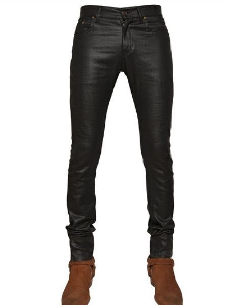 2b2aded84f7ab7 Men's Black 155cm Shiny Waxed Denim Jeans | Men Fashion | Denim ...