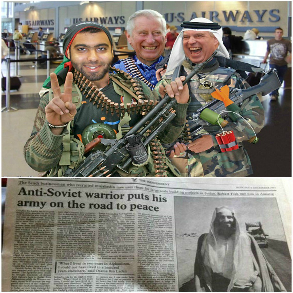 """Selling peace weapons in the middle east they are. >>> Histoyy speaks. >>> """"Anti-Soviet warrior puts his army on the road for peace""""."""