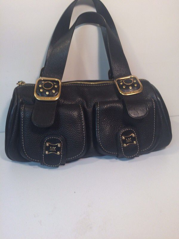 4ca8fc19706a8 My Michael Kors Black Leather Gold Tone Handbag by Michael Kors! Size for  $$120.00