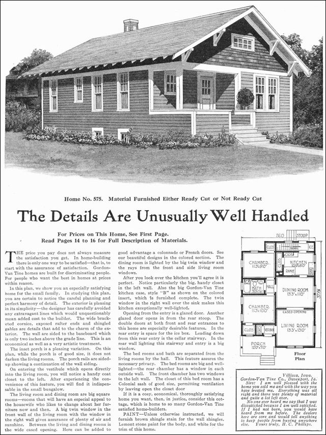 Small Classic Bungalow Cottage - 1918 Gordon Van Tine - Kit Houses ...