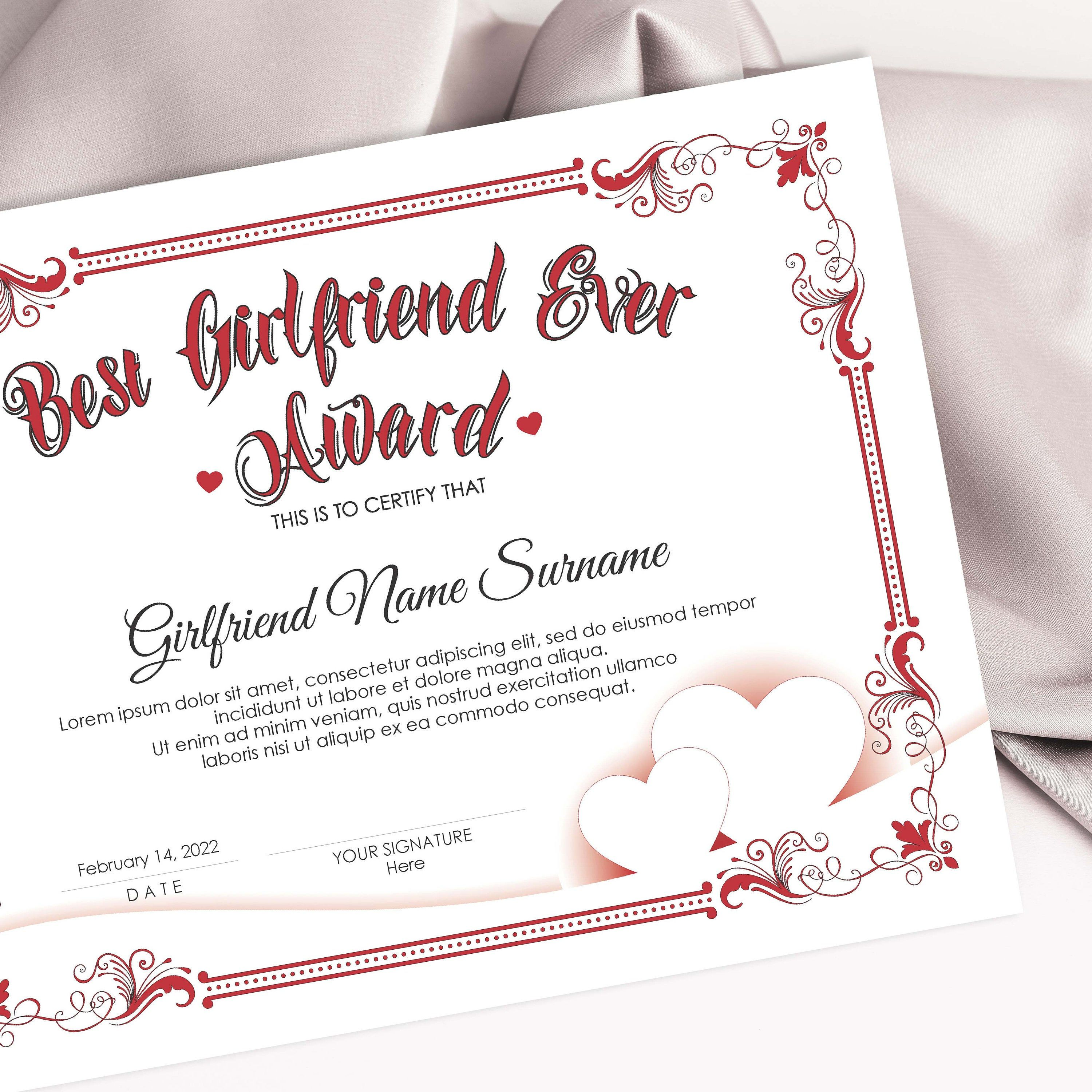 Editable Best Girlfriend Ever Award Template Valentines Day Gift For Her Modern Elegant Certificate Design Printable Certificate Download Award Template Best Boyfriend Ever Certificate Templates Girlfriend of the year award