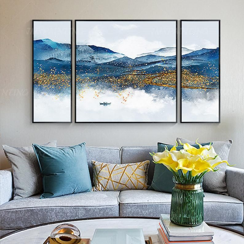 Set Of 3 Wall Art Gold And Blue Art Mountain Painting River Etsy Wall Art Pictures Mountain Paintings Canvas Painting