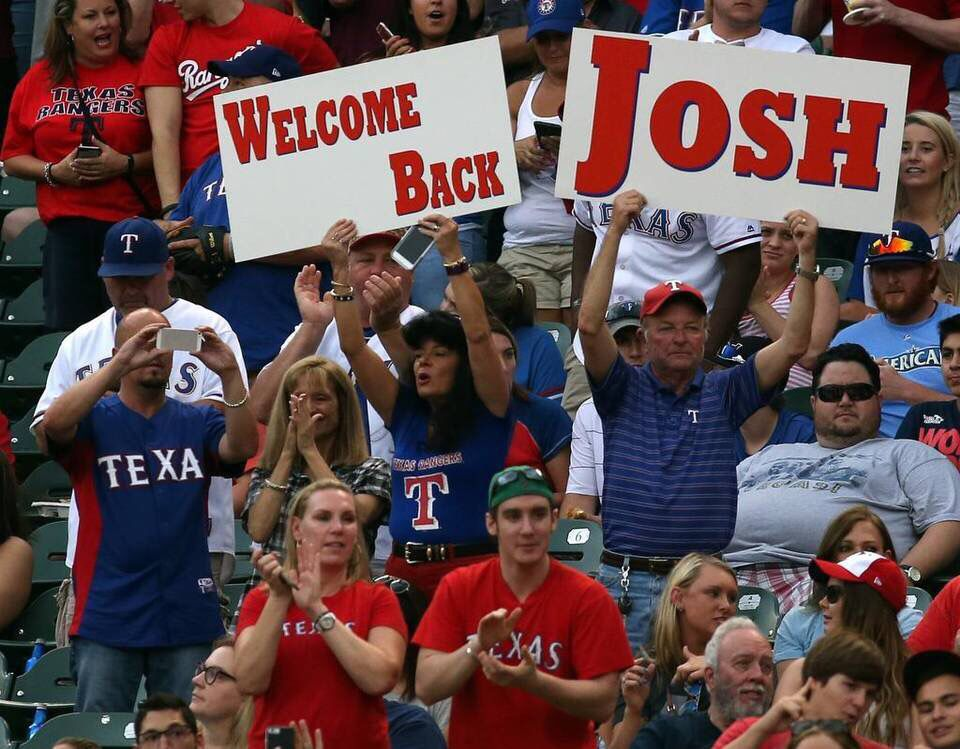 Josh Hamilton makes his Rangers home debut after spending two years away.