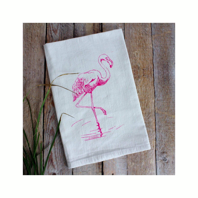 Pink Flamingo Tea Towel - Flour Sack Towels - Dish Towels - Hand ...