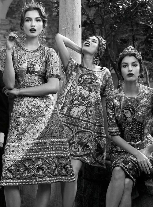 Andreea Diaconu, Bianca Balti and Kate King by Domenico Dolce for Dolce  Gabbana Fall/Winter 2013