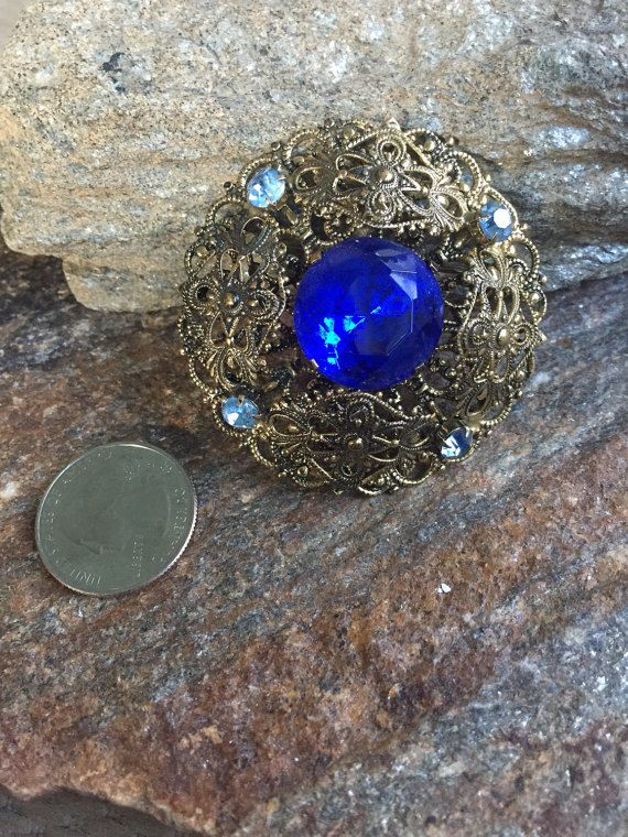Cobalt Blue Rhinestone Brooch Blue Filigree Brooch Blue