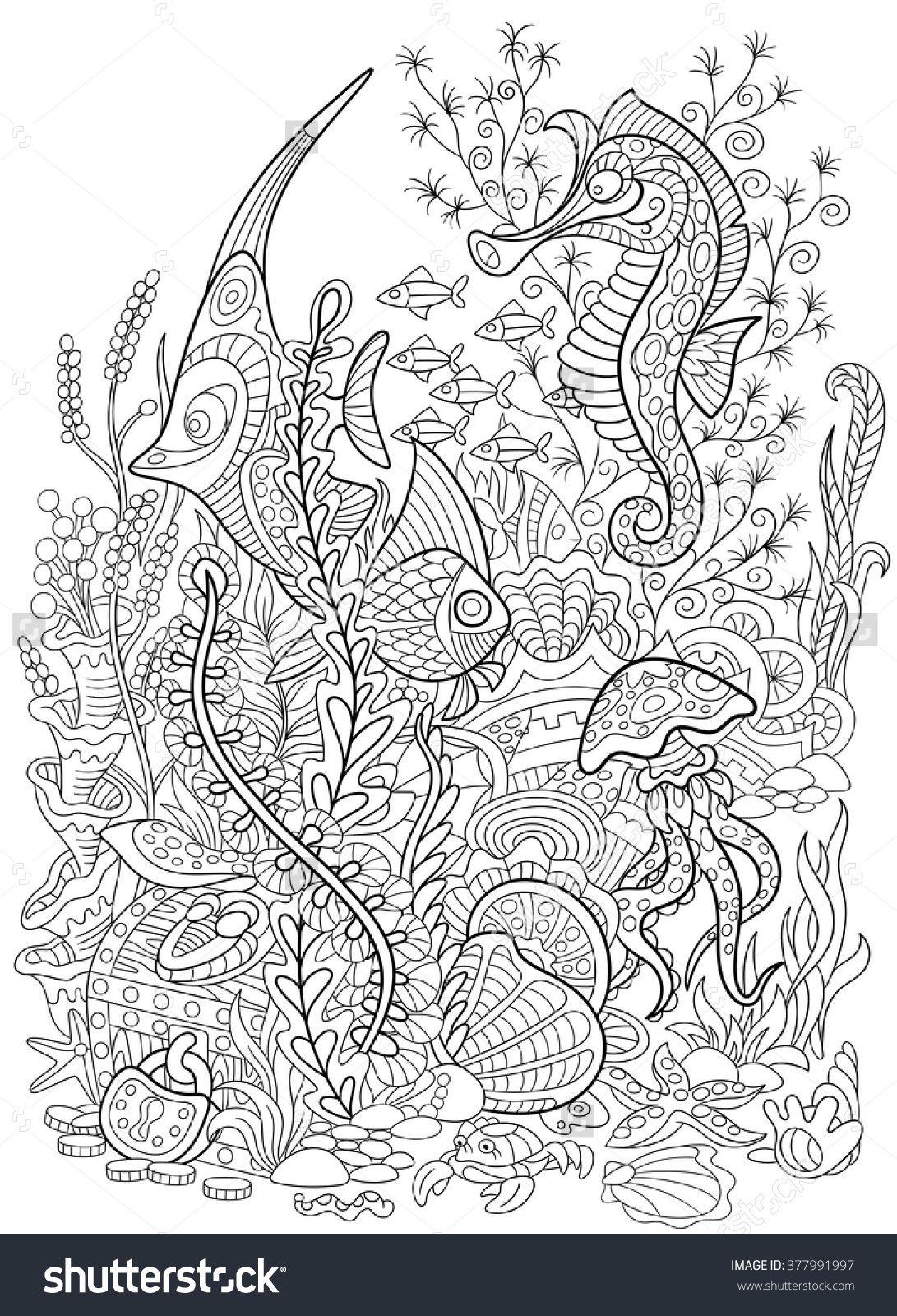 Zentangle Stylized Cartoon Fish Seahorse Jellyfish Crab