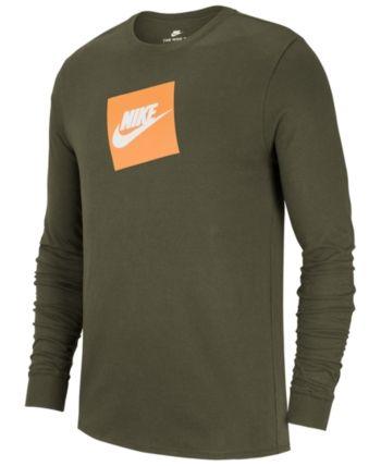 aa2aef1d Nike Men's Sportswear Futura Shoebox Logo Long-Sleeve T-Shirt - Green 2XL