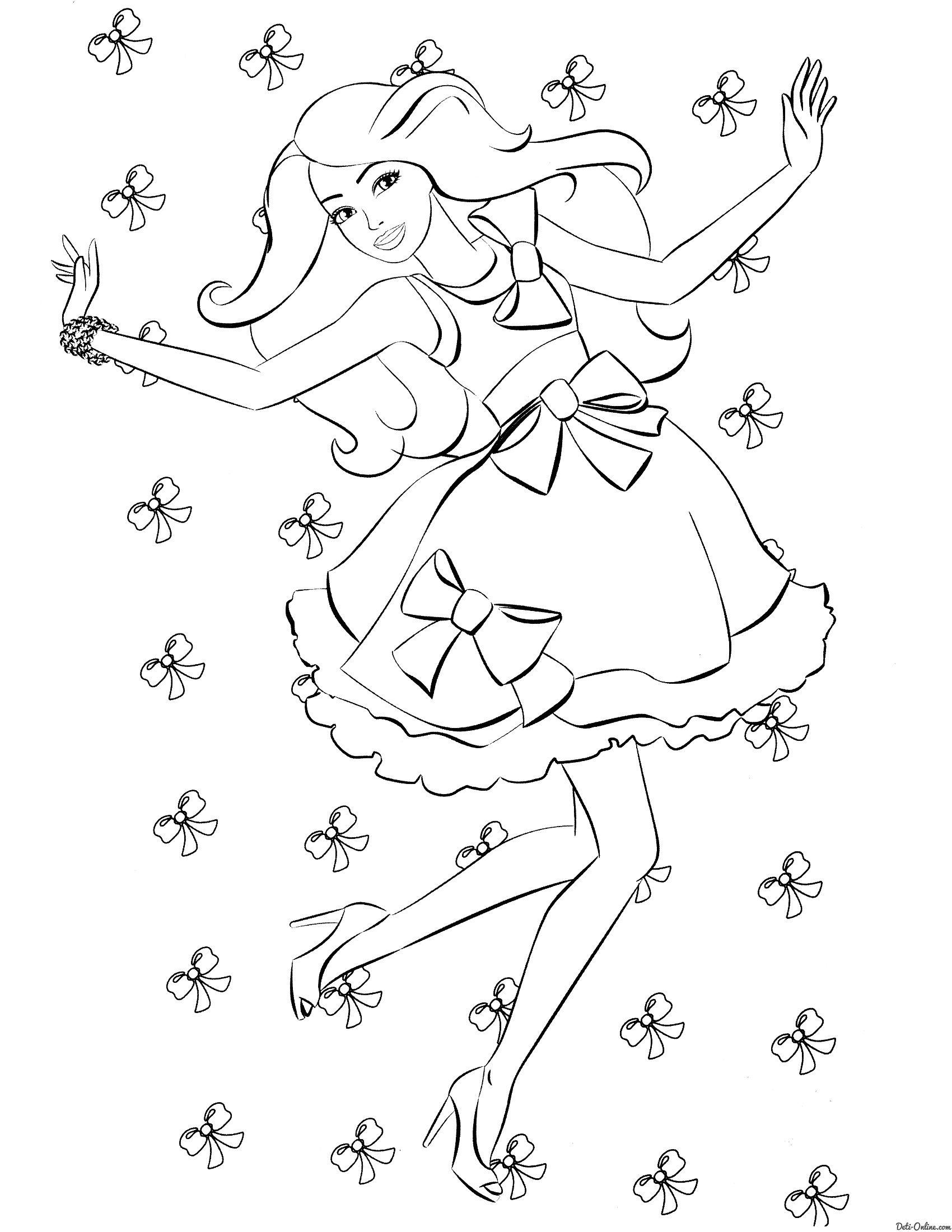 Раскраска Барби и банты распечатать или скачать | Рисунки ...