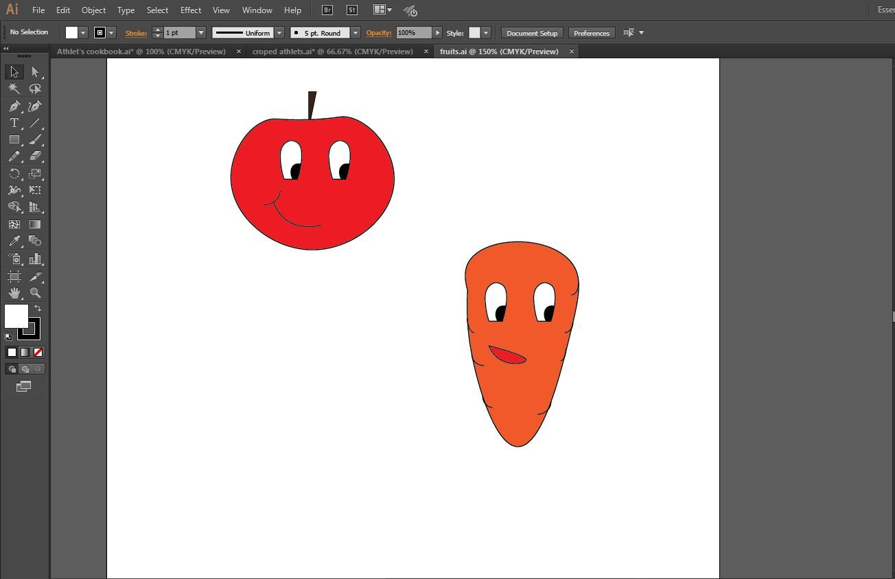 making fruits with adobe for the cookbook cover software skils