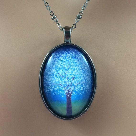 Blue Glow Twilight Tree Necklace