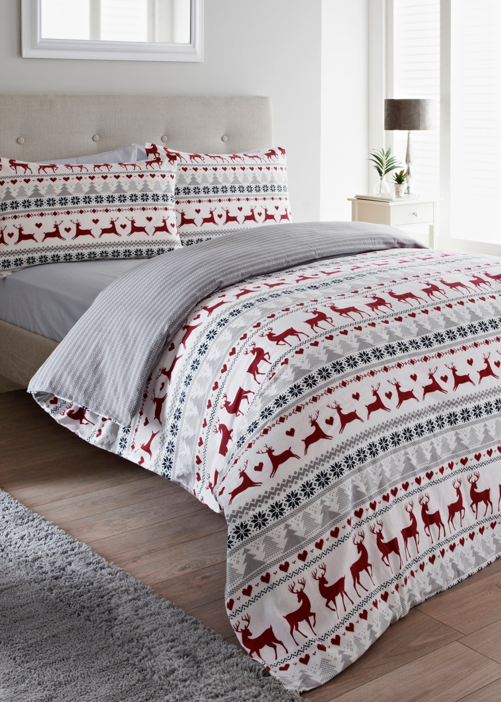 Fairisle Flannel Christmas Duvet Cover Red Red duvet